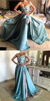One Shoulder Appliques Beaded Side Slit Long Prom Dresses, Prom Dresses S6700