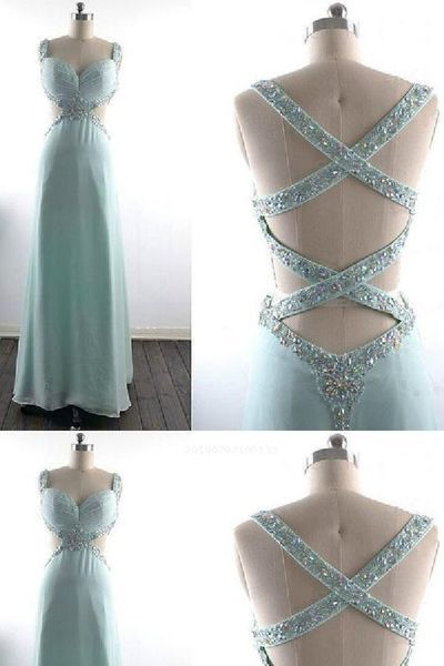 Light blue party dress v neck evening dress backless long prom dress sparkling beading formal dress S8659
