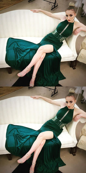 Sexy Split Slit Hunter Green Long Prom Dresss, Evening Party Dress  S6748