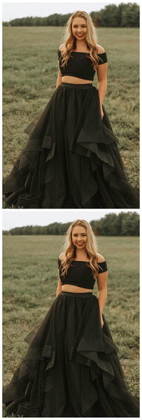 Black Short Sleeve Two Piece Prom Dress  S11234