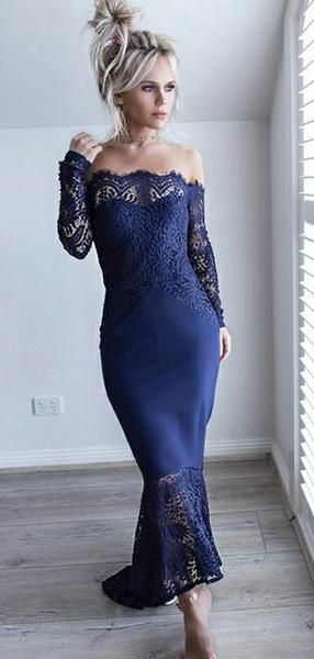 Navy Blue Lace Off Shoulder High Low Mermaid Prom Dresses S11266