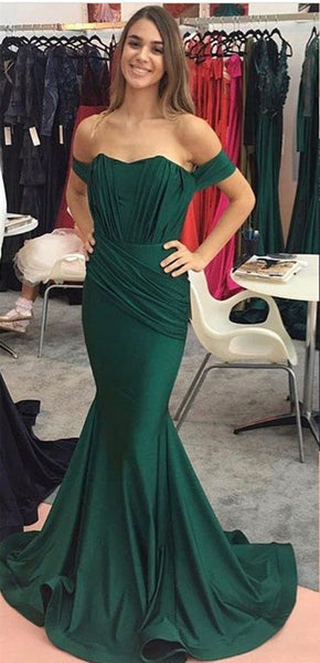 Mermaid Off-shoulder Dark Green Prom Dress With Pleats  S6798
