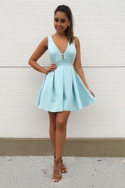 Mint-Green Satin Short Homecoming Dresses with Deep V-neckline S10858