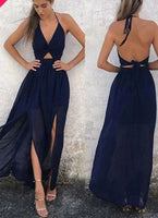 Halter Neck Backless Sexy Long Prom Dress S11033