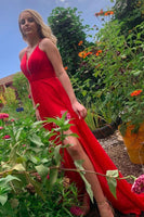 Simple A Line V Neck Red Long Prom Dress with Slit S11341