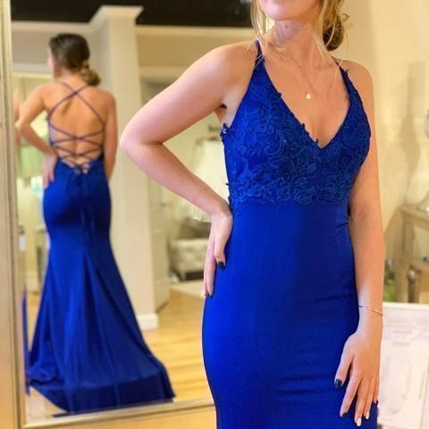 Simple Sexy Mermaid Lace-Up V Neck Backless Long Royal Blue Prom Dress S8671