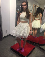 Two piece short homecoming dress , white homecoming dress S13116