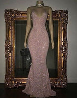 Pink Sequin Mermaid Long Prom Dress, Sequin Evening Dress S10967