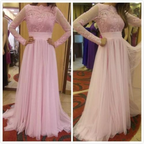 Long Sleeve Lace Prom Dress,Pageant Prom Dresses Pink Evening Gowns Formal Dress S12368