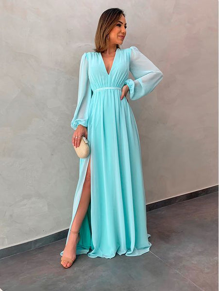 Chiffon Long Sleeves Blue  Prom Dresses, S7120