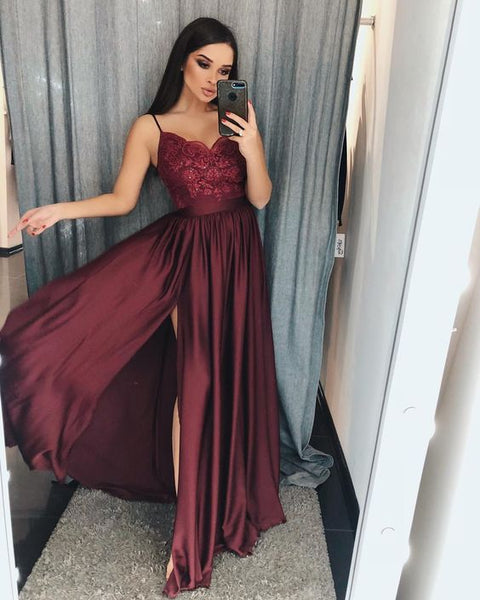 Burgundy Lace V-Neck Long Prom Dress,Burgundy Split Straps Evening Dress,Women Formal Gowns  S6656