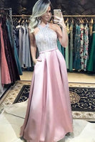 A Line Halter Backless Pink Long Prom Dresses with Pockets S10966