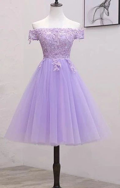 Light Purple Lace And Tulle Off The Shoulder Homecoming Dress S11189