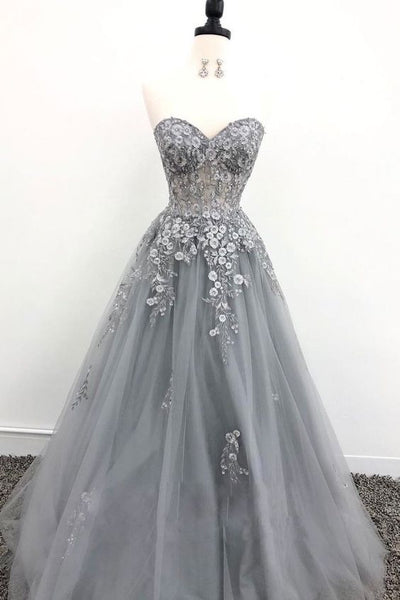 Grey Tulle Lace Appliques Long Prom Dress, Grey Evening Dress S6712