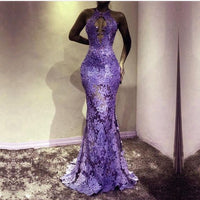 sexy formal dresses long mermaid purple prom dresses lace appliqué beaded modest elegant  S11016