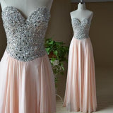 A-line Sweetheart Neck Beaded Bodice Chiffon Long Prom Dress S12025