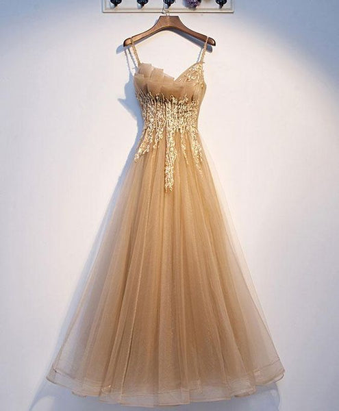 Cute champagne tulle lace long prom dress champagne evening dress S12052