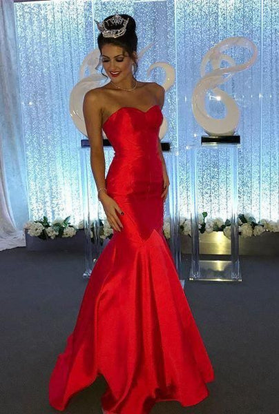 Gorgeous Red Sexy Sweetheart Mermaid/Trumpet Satin Prom Dresses S6976
