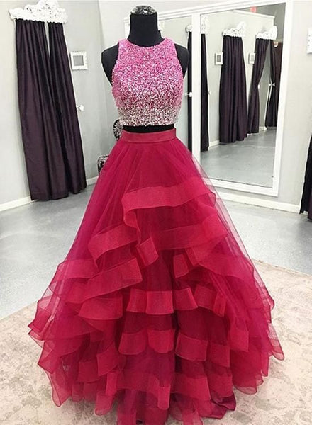 2 Pieces Long Tulle Prom Dress Scoop Neck Beaded Women Party Dress S11707