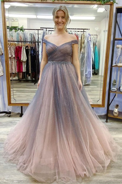 off the shoulder ombre grey and rose gold long prom dress S11697