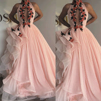 pink prom dresses high neck dotted tulle embroidery appliqué elegant prom gown  S11025