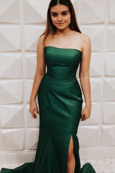 Hunter Green Strapless Long Prom Dress with Slit  S12230
