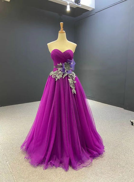 A-Line Purple Tulle Sweetheart Pleats Prom Dress  S11557