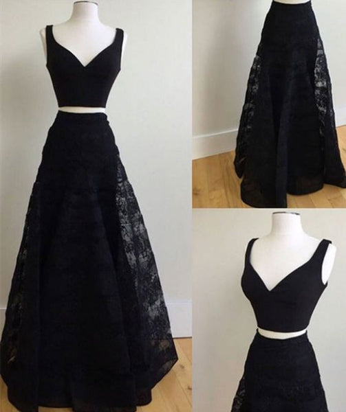 Two Piece A-Line V-Neck Floor-Length Black Lace Prom Dress  S11824