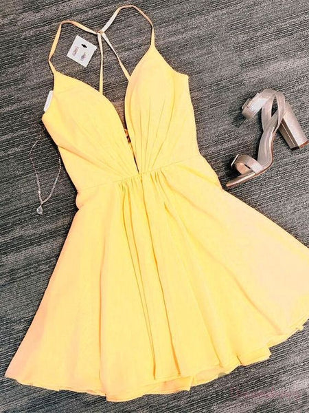 Yellow Short Homecoming Dress S12204