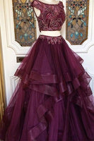 Two Pieces Charming Tulle prom dress, sexy prom dress S11896