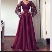 V Neck Lace Sleeves Prom Dress , Charming Prom Dress    S6986
