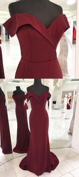 Burgundy Long Prom Dress Off the Shoulder Slit S10999