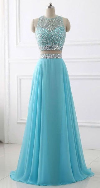 Simple Charming Blue Two Piece Chiffon Beaded Sparkle Long Prom Dress S12172