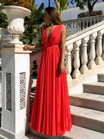 Red A Line V Neck Floor Length Pleated Chiffon Long Prom Dresses S6906