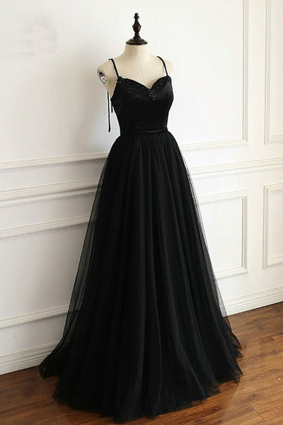 Black Tulle Spaghetti Straps Open Back Long Prom Dress, Black Party Gown S6714