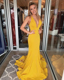 Gorgeous V Neck Mermaid Evening Dress Yellow Prom Dress S6834
