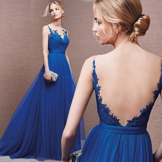 Blue Appliques Backless A-line Tulle Prom Dresses  S8658