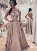 Prom Dresses Round Neck Appliques Evening Party Dresses  S7051