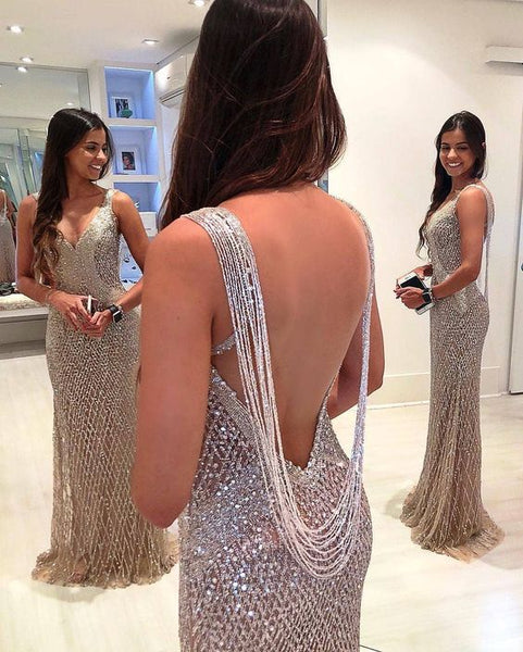 Mermiad Open Back Long Prom Dress With Beading S10988