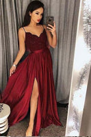 Sexy Prom Dress with Slit, Prom Dresses, Evening Gown, Graduation School Party Dress  S6655