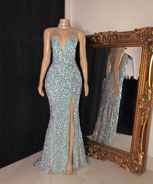 Sexy Sequins Sleeveless Mermaid Prom Dresses S10969
