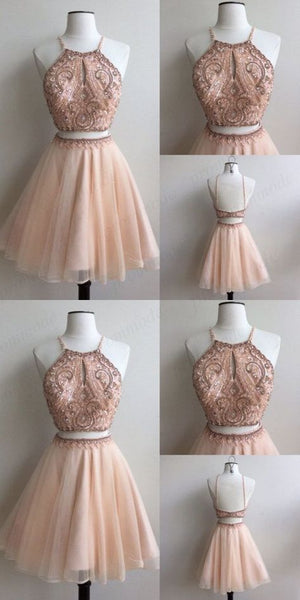 Shinning Two Piece Pink A-Line Scoop Tulle Homecoming Dresses With Beading S12183