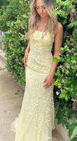 Sheath/Column Spaghetti Straps Yellow Prom Dress Long Evening Dresses S7101
