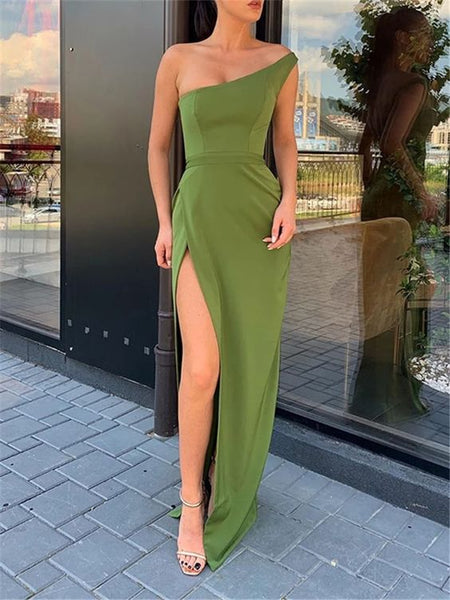Sexy Solid Color One Shoulder High Split Slim Prom Dress   S6832