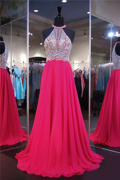Stunning A Line Halter Long Hot Pink Chiffon Tulle Beaded Prom Dress S12024