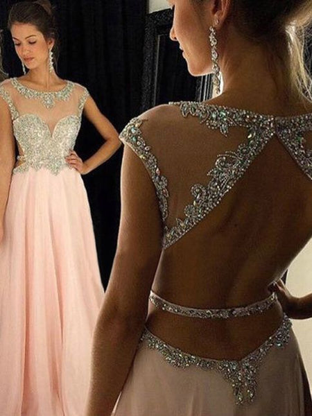 Pink A-line Scoop Floor-length Chiffon Prom Dresses S12016