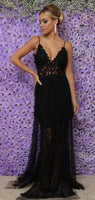 Sexy Spaghetti Straps Black Appliques Long Prom Dress, Black Evening Party Dress S6763