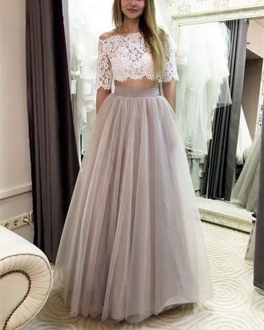 Two Piece Prom Dresses Tulle Floor Length With Lace Crop S11637