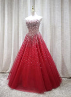 Red Sparkle Prom Dress Handmade Charming Formal Gown, Prom Dress S11411