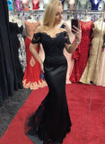 Black Satin Off Shoulder Long Train Mermaid Prom Dress With Short Sleeve   S6642